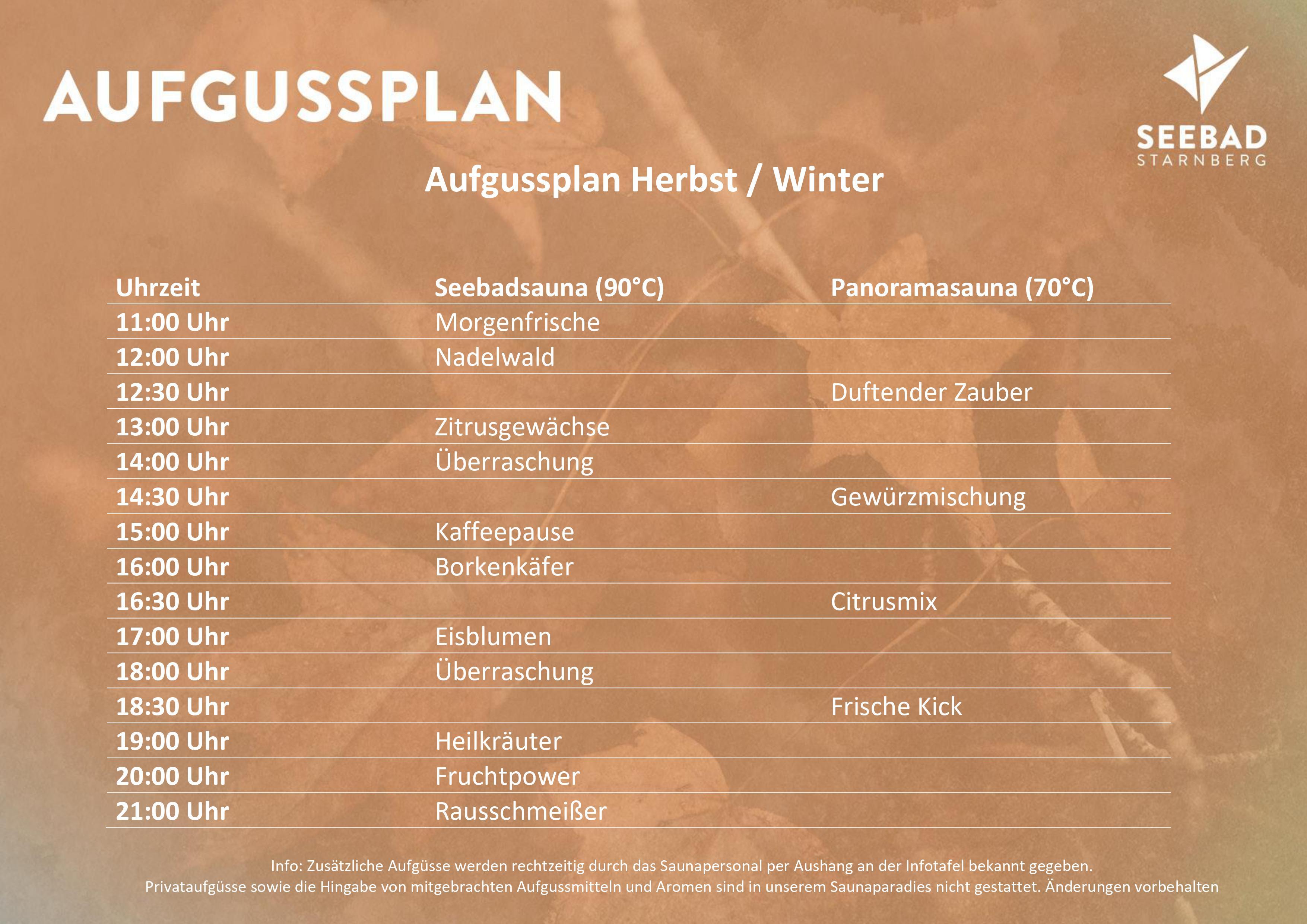 Aufgussplan Herbst Winter 2020